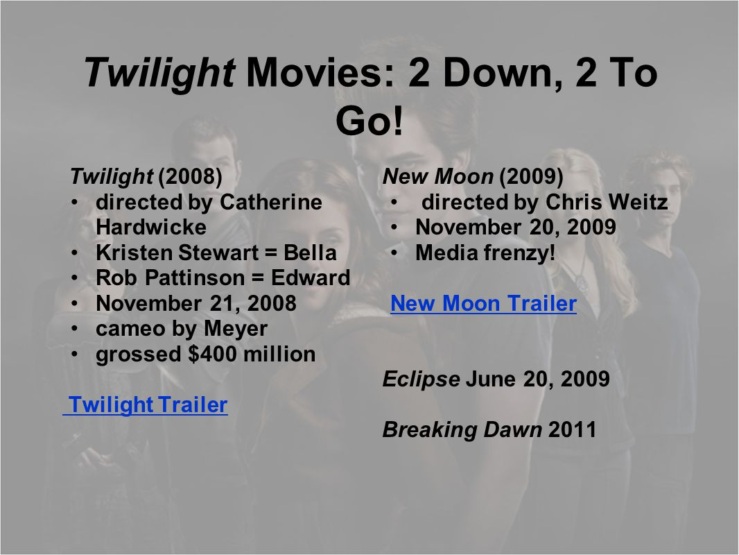 Twilight Movies: 2 Down, 2 To Go! Twilight (2008) directed by Catherine Hardwicke Kristen Stewart = Bella Rob Pattinson = Edward November 21, 2008 cam