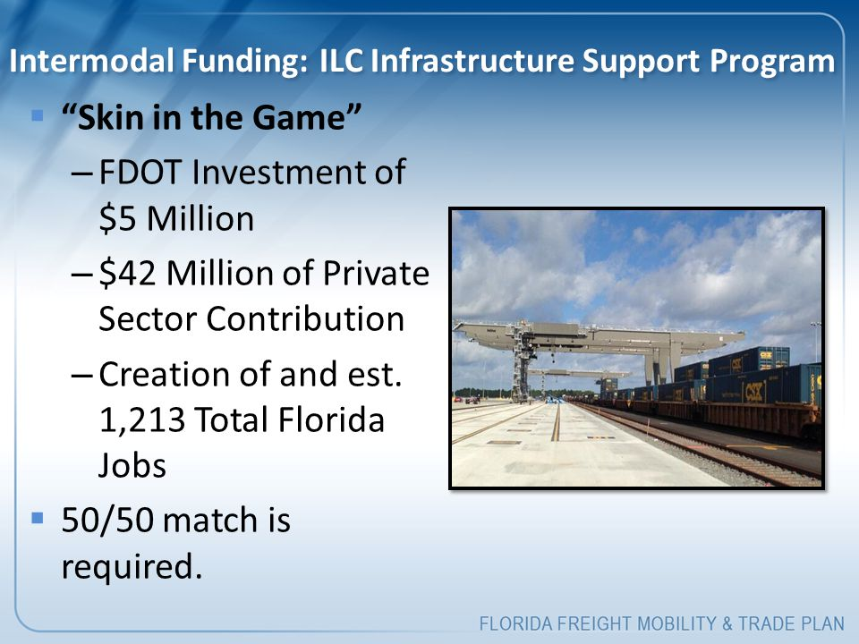 """Intermodal Funding: ILC Infrastructure Support Program  """"Skin in the Game"""" – FDOT Investment of $5 Million – $42 Million of Private Sector Contributi"""