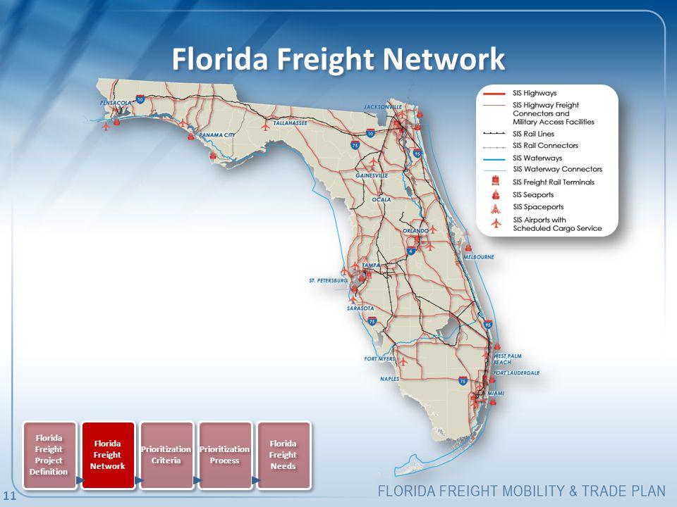 Florida Freight Network Florida Freight Project Definition Florida Freight Network Prioritization Criteria Prioritization Process Florida Freight Needs 11