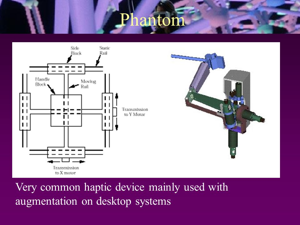 Phantom Very common haptic device mainly used with augmentation on desktop systems