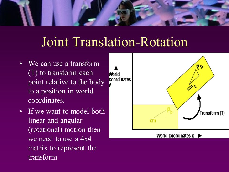 Joint Translation-Rotation We can use a transform (T) to transform each point relative to the body to a position in world coordinates. If we want to m