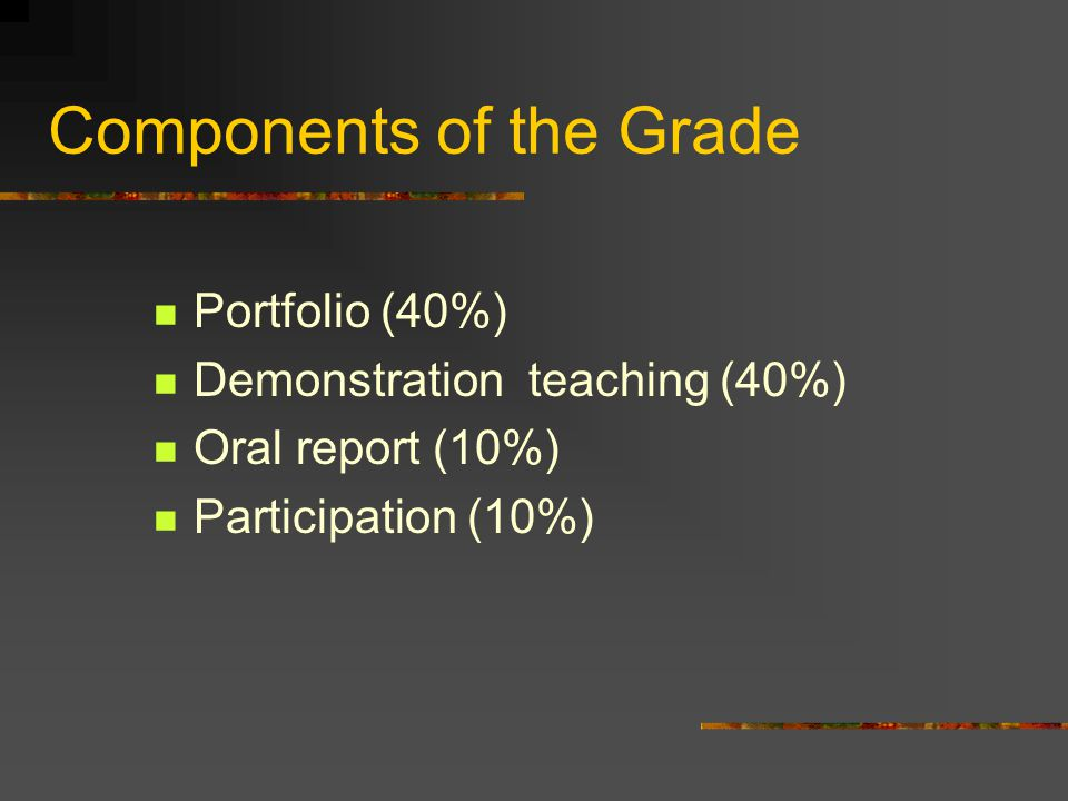 Components of the Grade Portfolio (40%) Demonstration teaching (40%) Oral report (10%) Participation (10%)