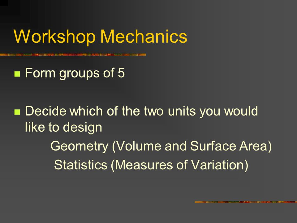 Workshop Mechanics Form groups of 5 Decide which of the two units you would like to design Geometry (Volume and Surface Area) Statistics (Measures of Variation)