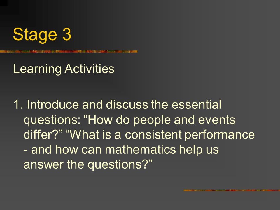 Stage 3 Learning Activities 1.