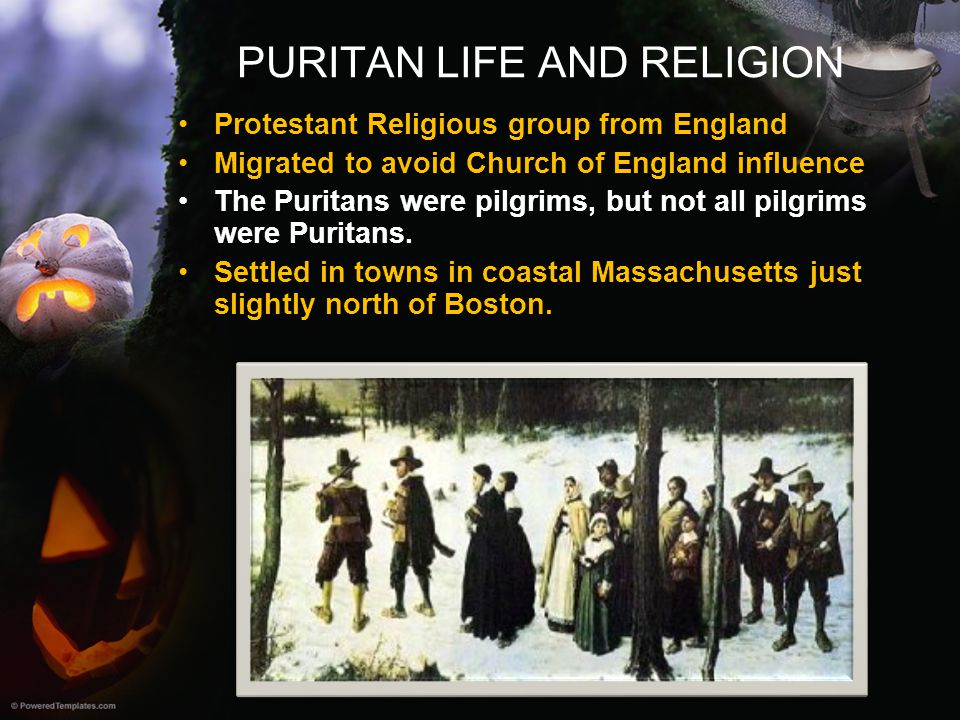 PURITAN LIFE AND RELIGION Protestant Religious group from England Migrated to avoid Church of England influence The Puritans were pilgrims, but not al