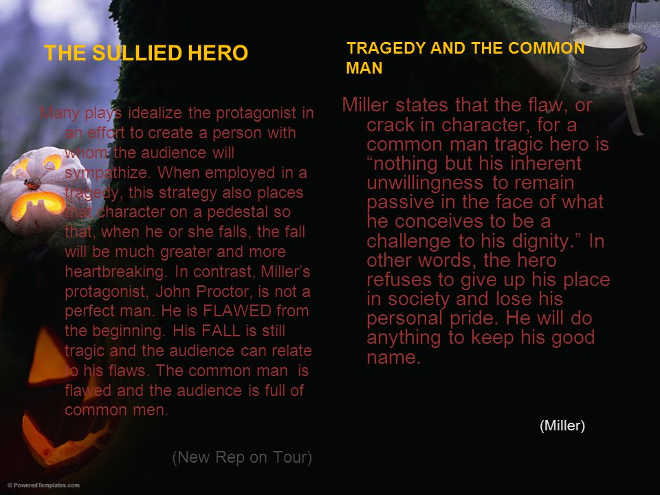 THE SULLIED HERO Many plays idealize the protagonist in an effort to create a person with whom the audience will sympathize. When employed in a traged