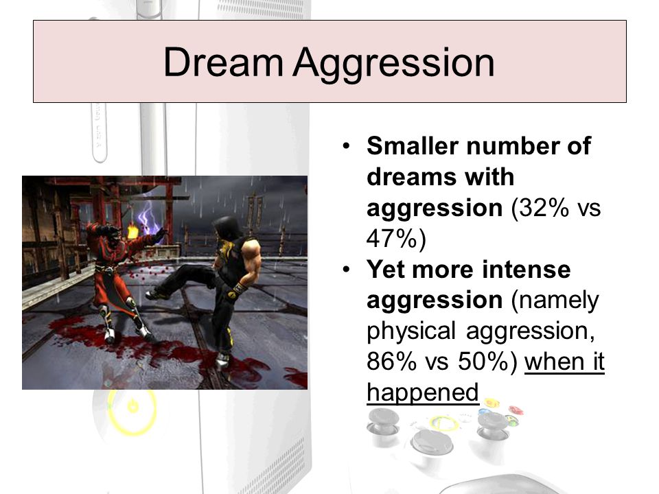 Dream Aggression Smaller number of dreams with aggression (32% vs 47%) Yet more intense aggression (namely physical aggression, 86% vs 50%) when it happened