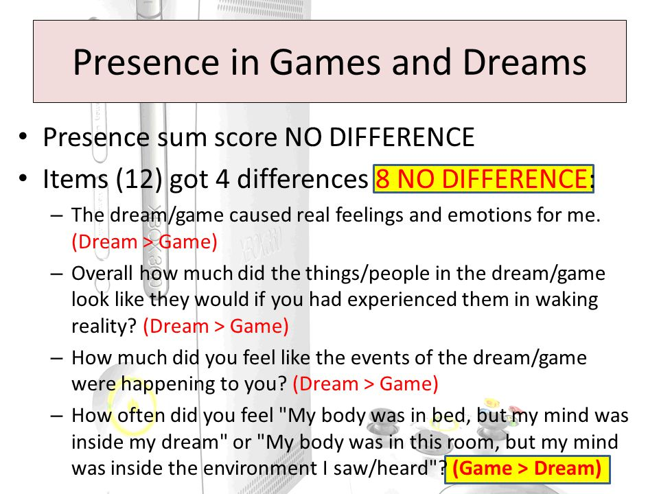 Presence sum score NO DIFFERENCE Items (12) got 4 differences 8 NO DIFFERENCE: – The dream/game caused real feelings and emotions for me.