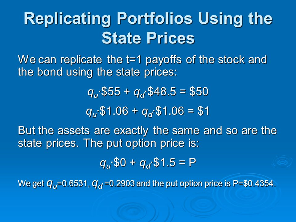 Replicating Portfolios Using the State Prices We can replicate the t=1 payoffs of the stock and the bond using the state prices: q u ·$55 + q d ·$48.5 = $50 q u ·$1.06 + q d ·$1.06 = $1 But the assets are exactly the same and so are the state prices.