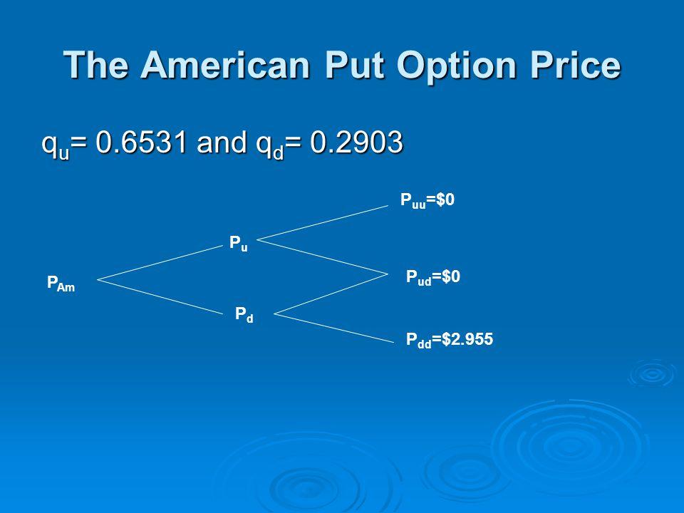 The American Put Option Price q u = 0.6531 and q d = 0.2903 P Am PuPu PdPd P uu =$0 P ud =$0 P dd =$2.955