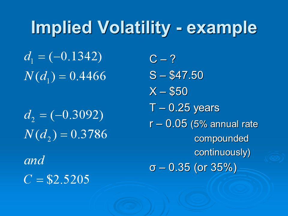 Implied Volatility - example C – .