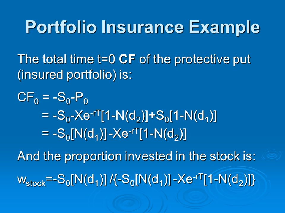 Portfolio Insurance Example The total time t=0 CF of the protective put (insured portfolio) is: CF 0 = -S 0 -P 0 = -S 0 -Xe -rT [1-N(d 2 )]+S 0 [1-N(d