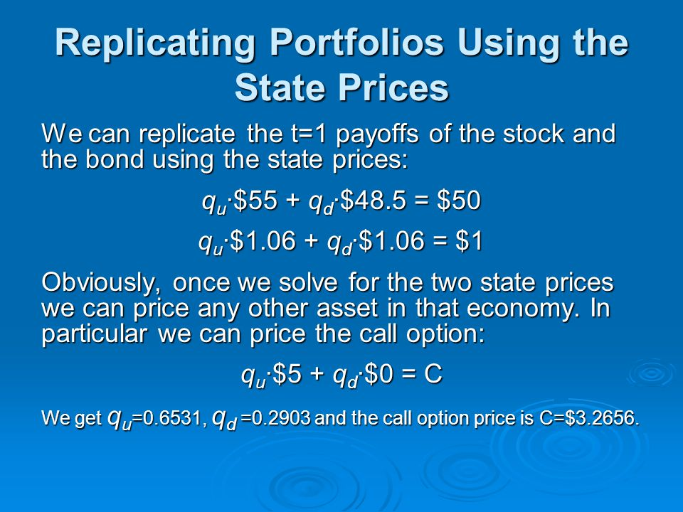 Replicating Portfolios Using the State Prices We can replicate the t=1 payoffs of the stock and the bond using the state prices: q u ·$55 + q d ·$48.5 = $50 q u ·$1.06 + q d ·$1.06 = $1 Obviously, once we solve for the two state prices we can price any other asset in that economy.