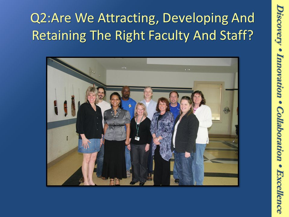 Discovery Innovation Collaboration Excellence Q2:Are We Attracting, Developing And Retaining The Right Faculty And Staff?