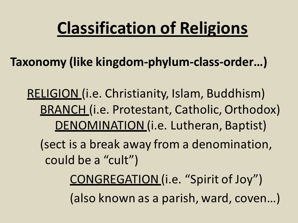 Classification of Religions Taxonomy (like kingdom-phylum-class-order…) RELIGION (i.e. Christianity, Islam, Buddhism) BRANCH (i.e. Protestant, Catholi