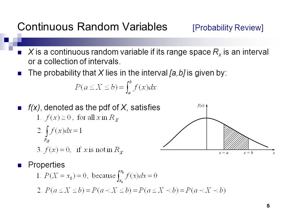 5 Continuous Random Variables [Probability Review] X is a continuous random variable if its range space R x is an interval or a collection of intervals.