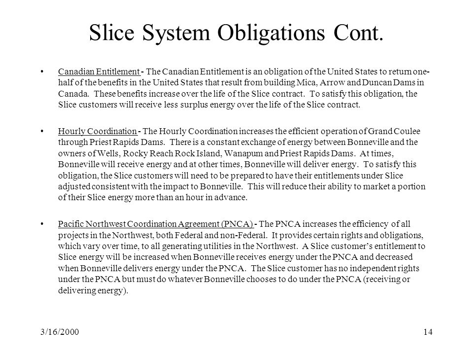 3/16/200014 Slice System Obligations Cont.