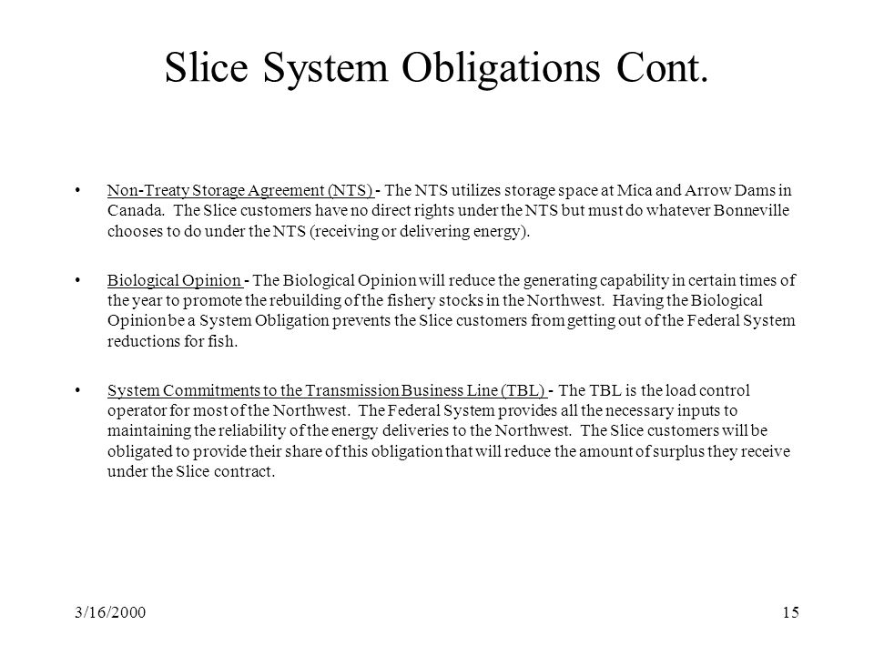 3/16/200015 Slice System Obligations Cont.