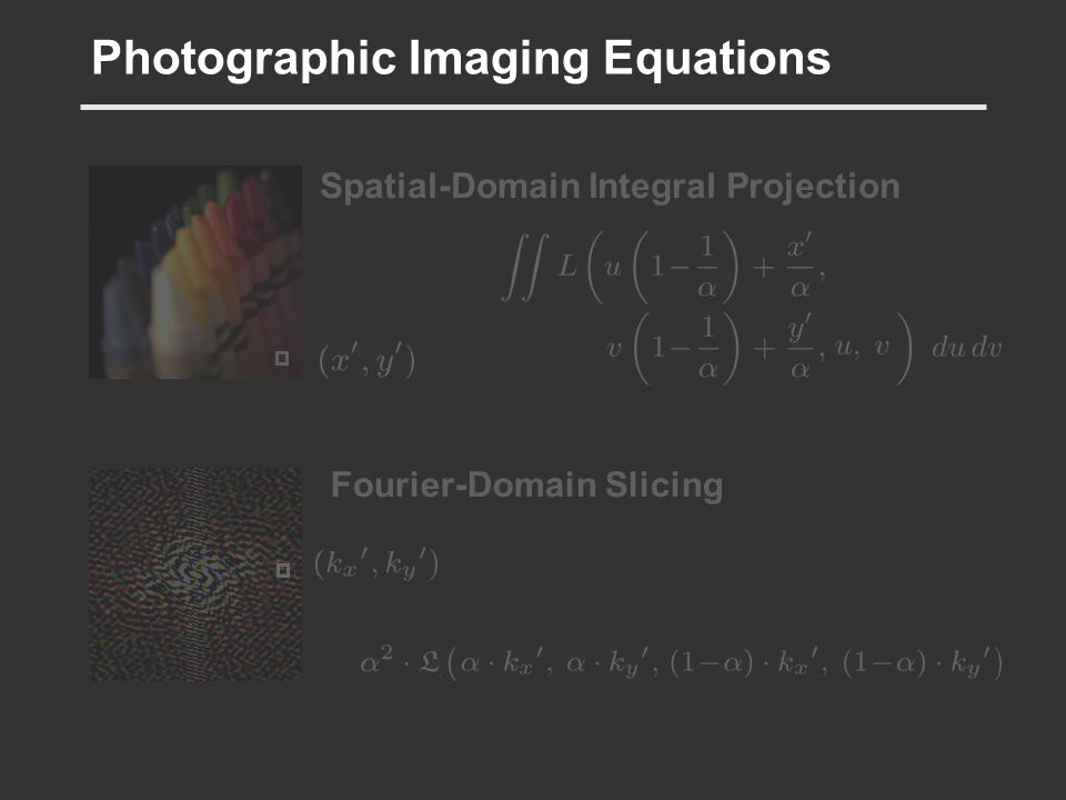 Photographic Imaging Equations Spatial-Domain Integral Projection Fourier-Domain Slicing