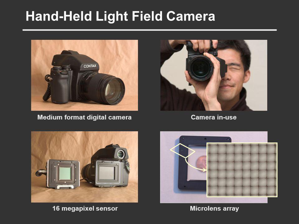 Hand-Held Light Field Camera Medium format digital cameraCamera in-use 16 megapixel sensorMicrolens array