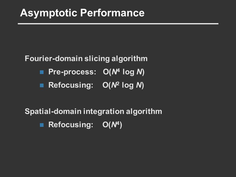 Asymptotic Performance Fourier-domain slicing algorithm Pre-process: O(N 4 log N) Refocusing: O(N 2 log N) Spatial-domain integration algorithm Refocu