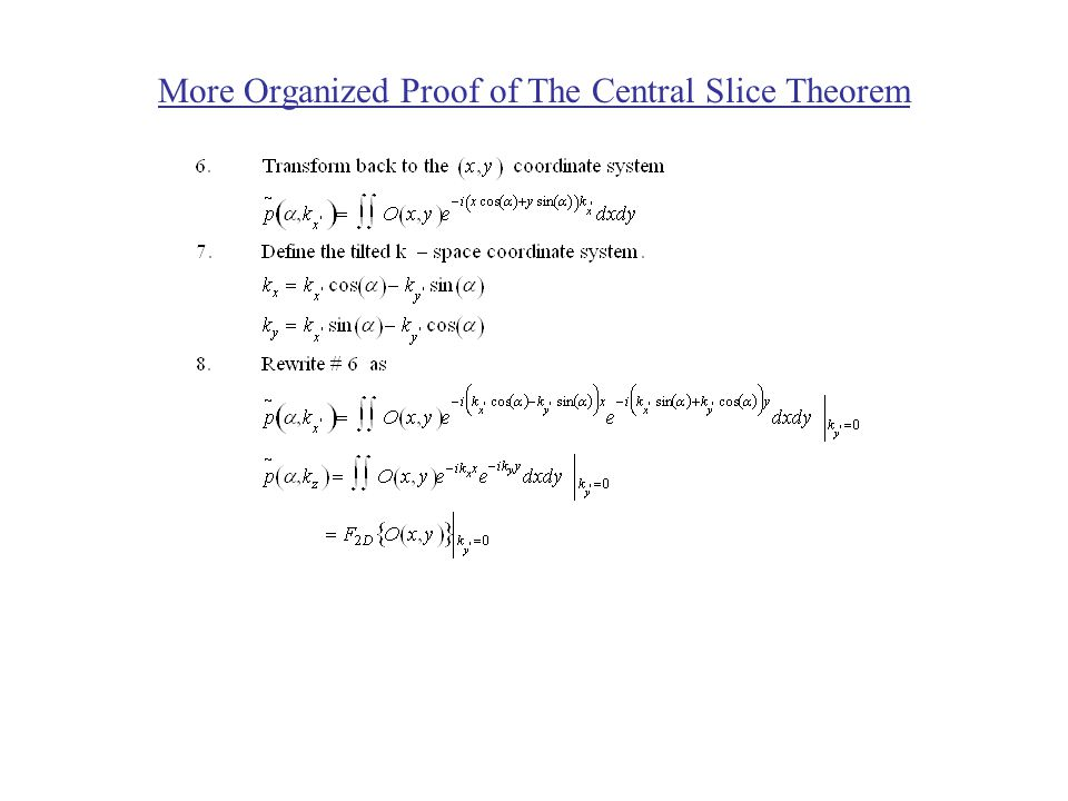 The Central Slice Theorem Consider a 2-dimensional example of an emission imaging system.
