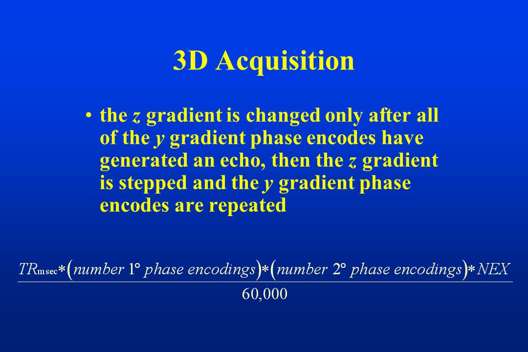 the z gradient is changed only after all of the y gradient phase encodes have generated an echo, then the z gradient is stepped and the y gradient pha