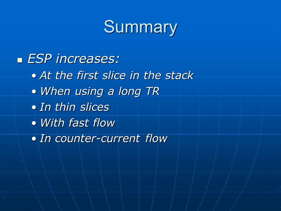 Summary ESP increases: ESP increases: At the first slice in the stackAt the first slice in the stack When using a long TRWhen using a long TR In thin