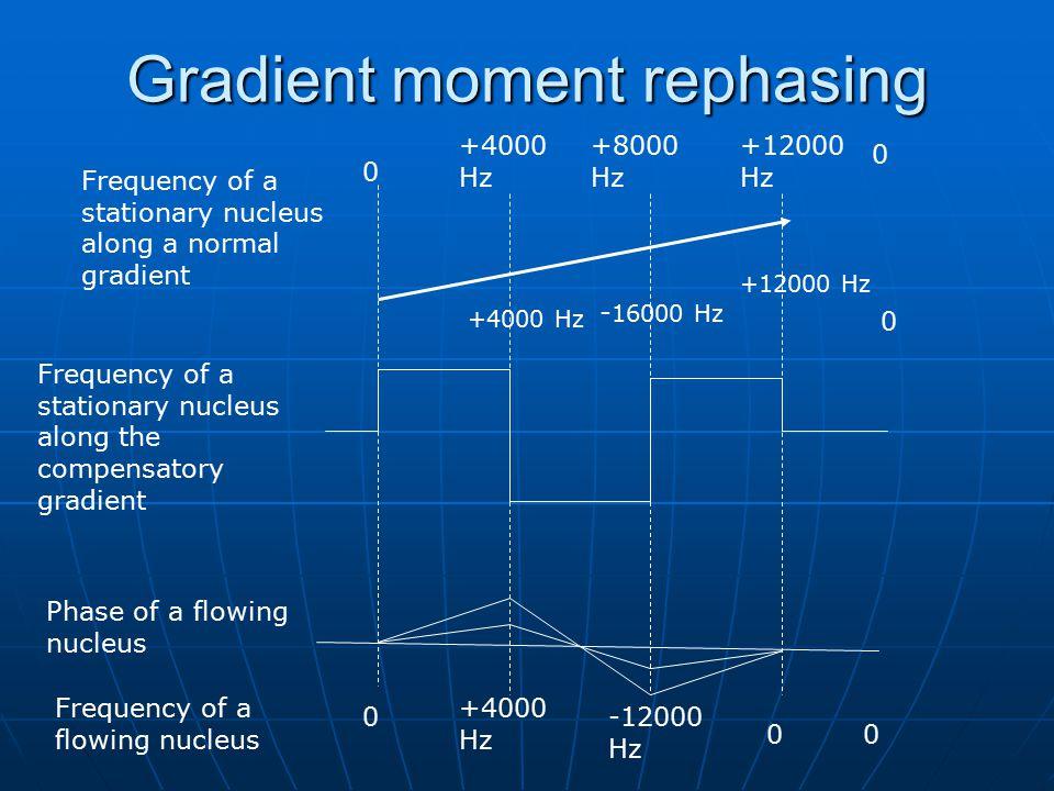 Gradient moment rephasing 0 +4000 Hz +8000 Hz +12000 Hz +4000 Hz - 16000 Hz +12000 Hz 0 0 0 +4000 Hz -12000 Hz 00 Frequency of a stationary nucleus al