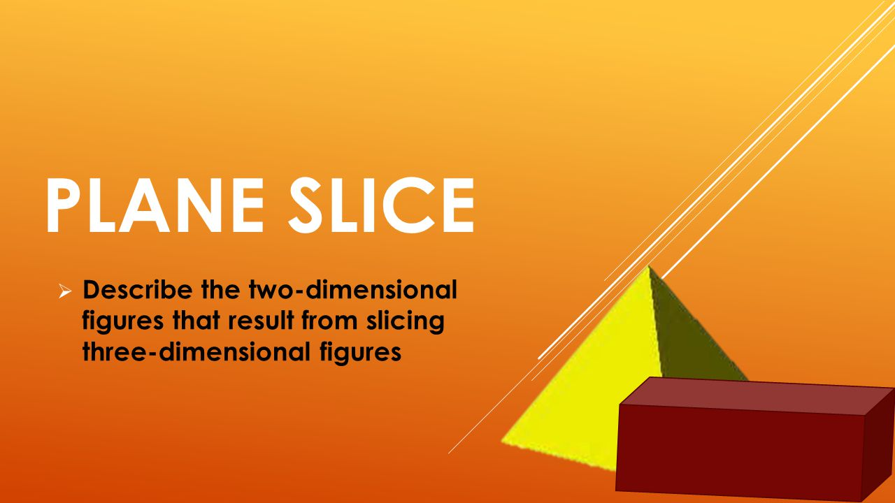 PLANE SLICE  Describe the two-dimensional figures that result from slicing three-dimensional figures