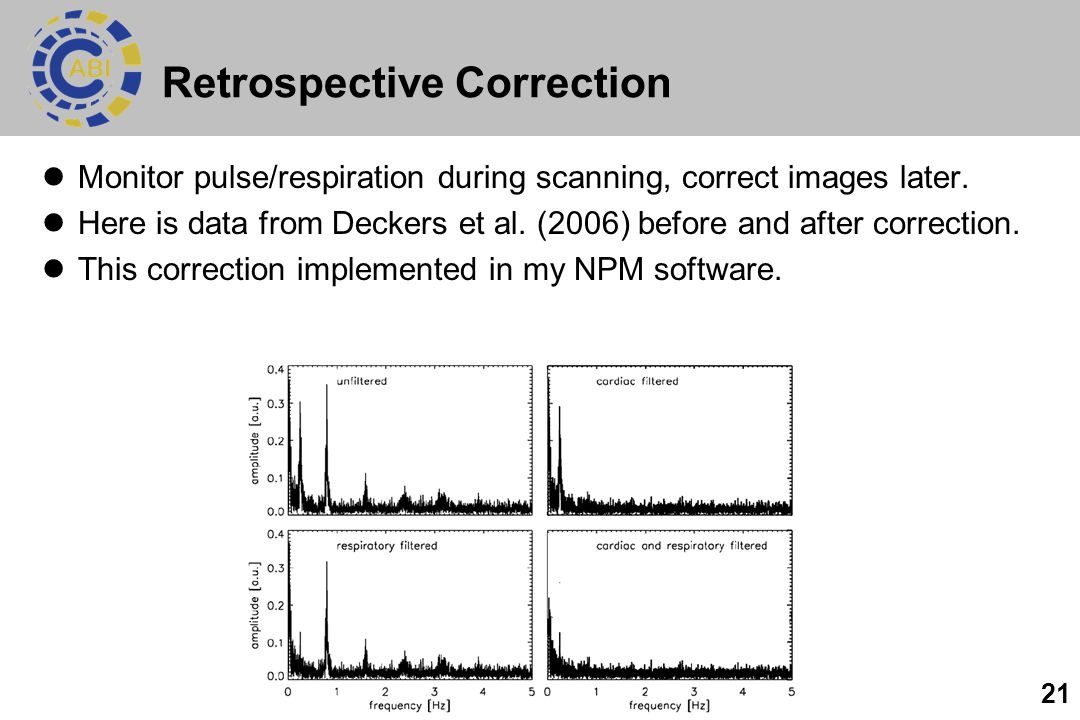 21 Retrospective Correction Monitor pulse/respiration during scanning, correct images later. Here is data from Deckers et al. (2006) before and after