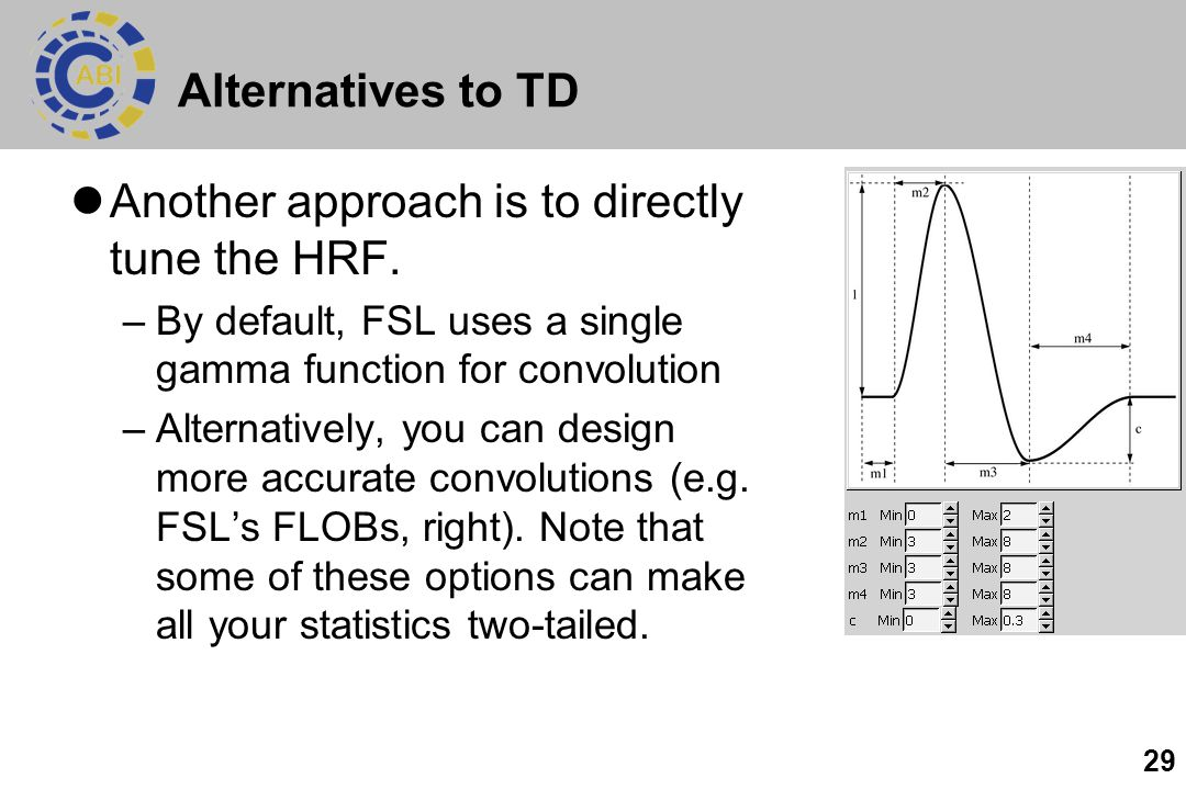 29 Alternatives to TD Another approach is to directly tune the HRF. –By default, FSL uses a single gamma function for convolution –Alternatively, you