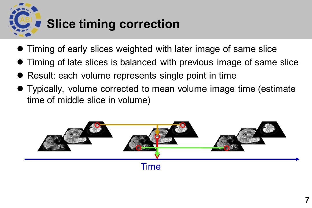 7 Slice timing correction Timing of early slices weighted with later image of same slice Timing of late slices is balanced with previous image of same slice Result: each volume represents single point in time Typically, volume corrected to mean volume image time (estimate time of middle slice in volume) Time