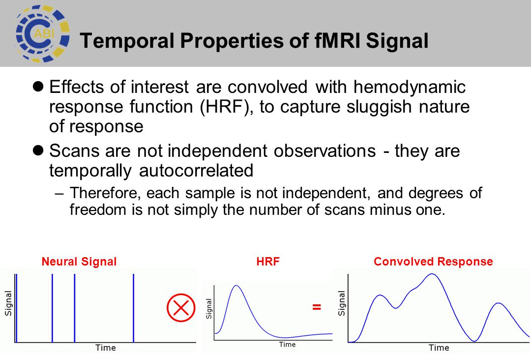 9 Temporal Properties of fMRI Signal Effects of interest are convolved with hemodynamic response function (HRF), to capture sluggish nature of response Scans are not independent observations - they are temporally autocorrelated –Therefore, each sample is not independent, and degrees of freedom is not simply the number of scans minus one.