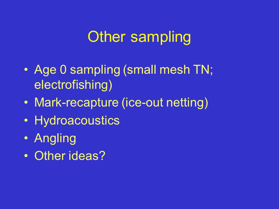 Other sampling Age 0 sampling (small mesh TN; electrofishing) Mark-recapture (ice-out netting) Hydroacoustics Angling Other ideas?