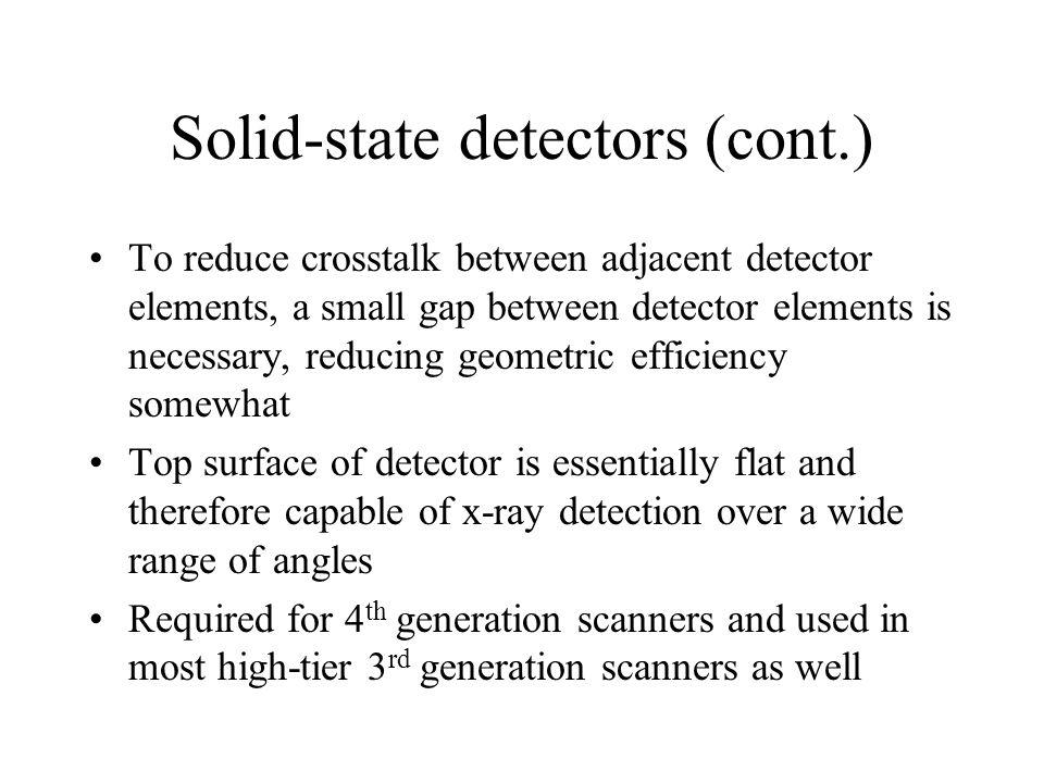 Solid-state detectors (cont.) To reduce crosstalk between adjacent detector elements, a small gap between detector elements is necessary, reducing geo