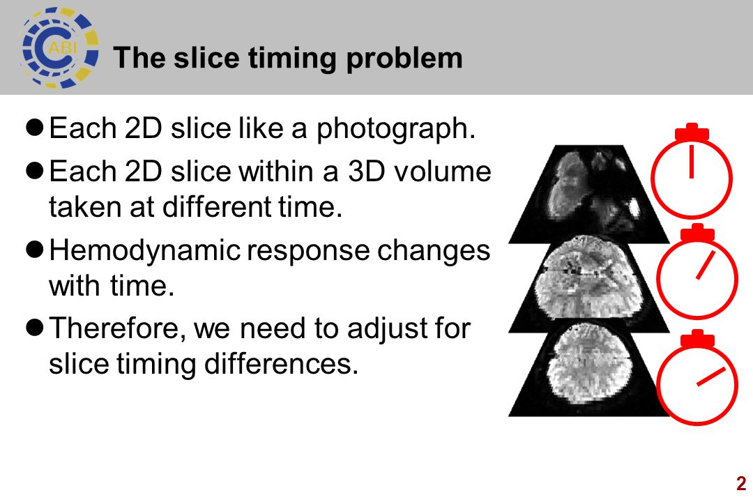 2 The slice timing problem Each 2D slice like a photograph.