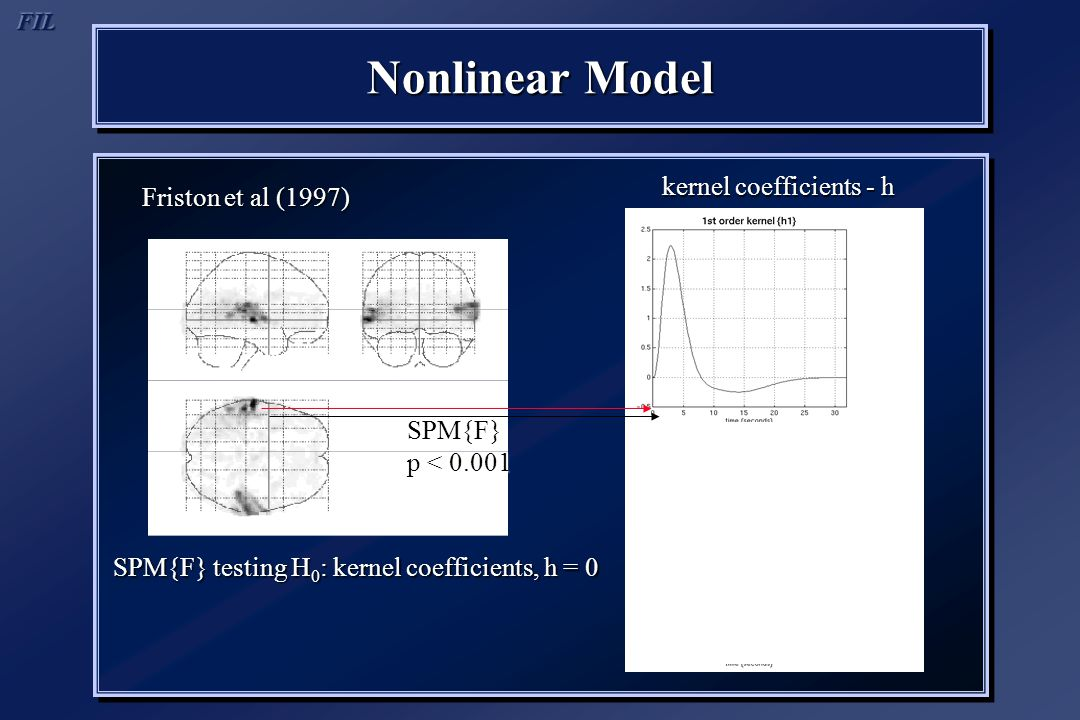 Nonlinear Model Friston et al (1997) SPM{F} testing H 0 : kernel coefficients, h = 0 kernel coefficients - h SPM{F} p < 0.001