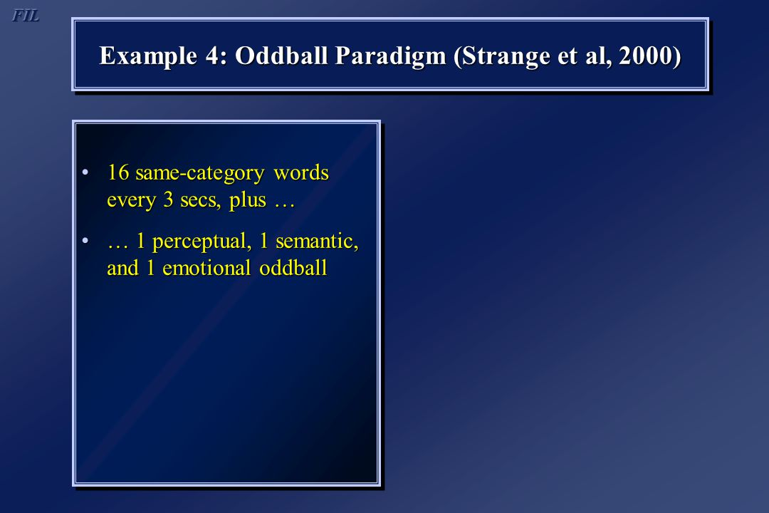 Example 4: Oddball Paradigm (Strange et al, 2000) 16 same-category words every 3 secs, plus …16 same-category words every 3 secs, plus … … 1 perceptua