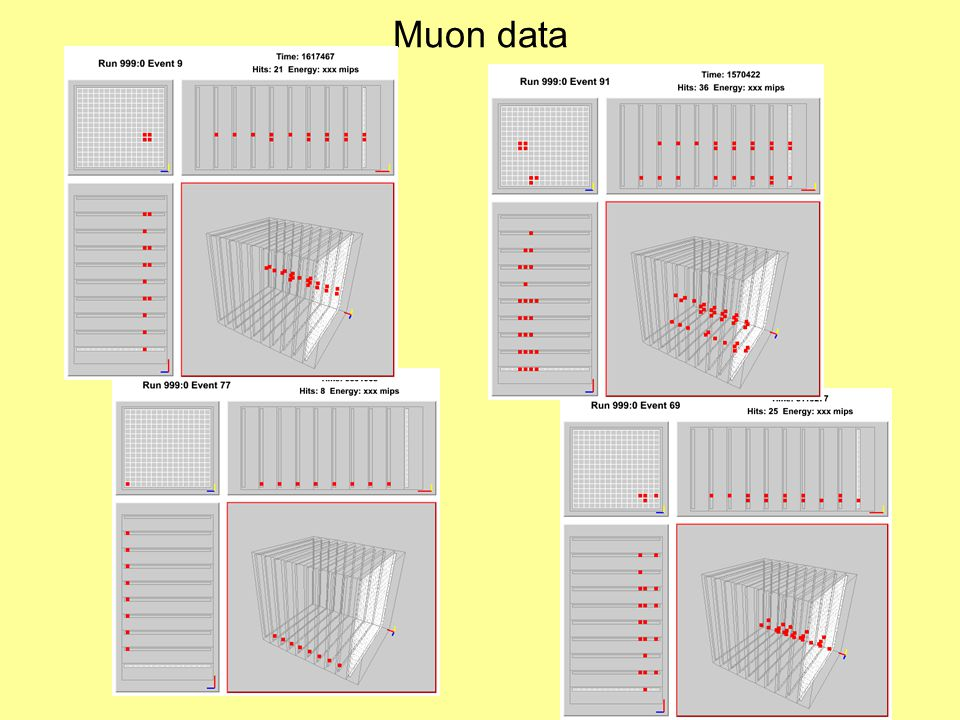 Muon data: calibration of all runs From: Cosmic Ray Runs Very similar to results with 'old' VME digital readout