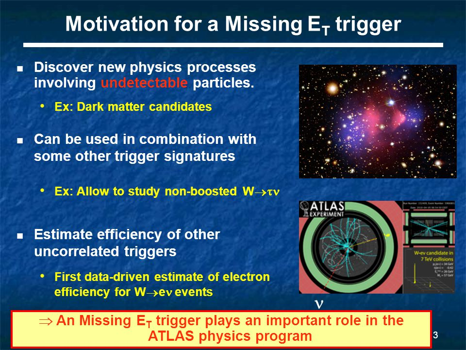 3 Motivation for a Missing E T trigger Can be used in combination with some other trigger signatures Ex: Allow to study non-boosted W  Estimate efficiency of other uncorrelated triggers First data-driven estimate of electron efficiency for W  e events Discover new physics processes involving undetectable particles.