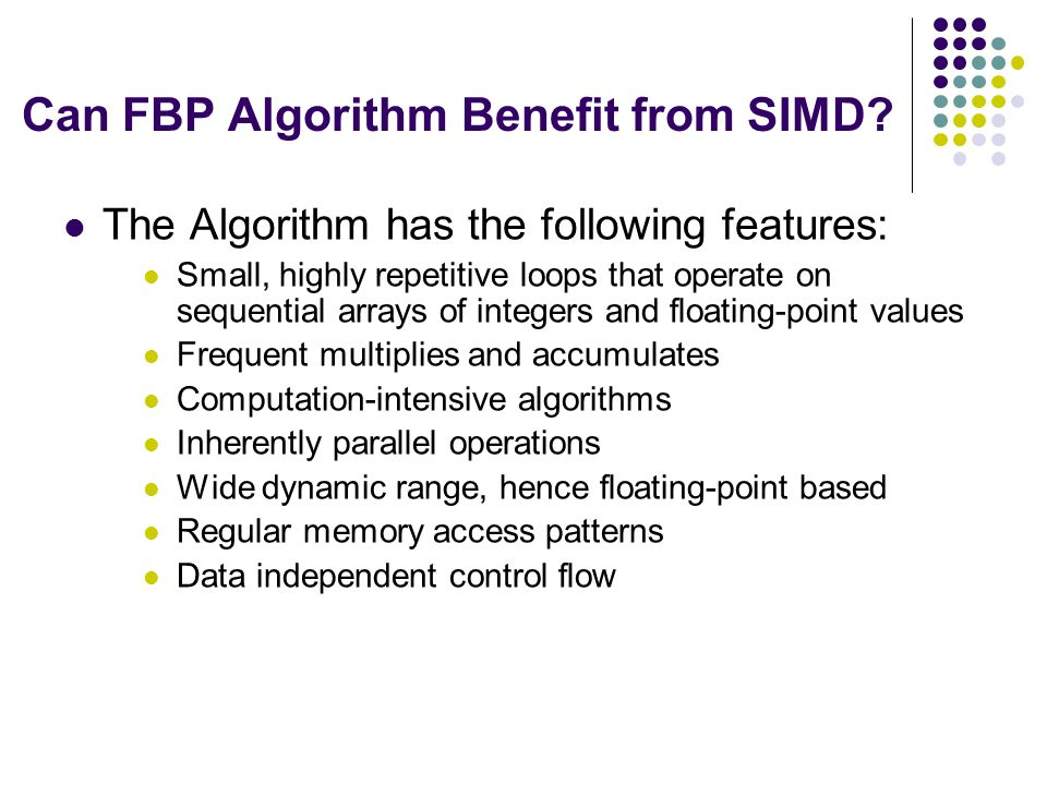 Can FBP Algorithm Benefit from SIMD.