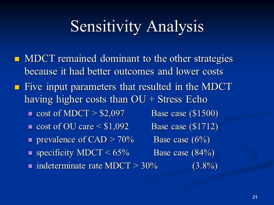 21 Sensitivity Analysis MDCT remained dominant to the other strategies because it had better outcomes and lower costs MDCT remained dominant to the other strategies because it had better outcomes and lower costs Five input parameters that resulted in the MDCT having higher costs than OU + Stress Echo Five input parameters that resulted in the MDCT having higher costs than OU + Stress Echo cost of MDCT > $2,097 Base case ($1500) cost of MDCT > $2,097 Base case ($1500) cost of OU care < $1,092 Base case ($1712) cost of OU care < $1,092 Base case ($1712) prevalence of CAD > 70% Base case (6%) prevalence of CAD > 70% Base case (6%) specificity MDCT < 65% Base case (84%) specificity MDCT < 65% Base case (84%) indeterminate rate MDCT > 30% (3.8%) indeterminate rate MDCT > 30% (3.8%)