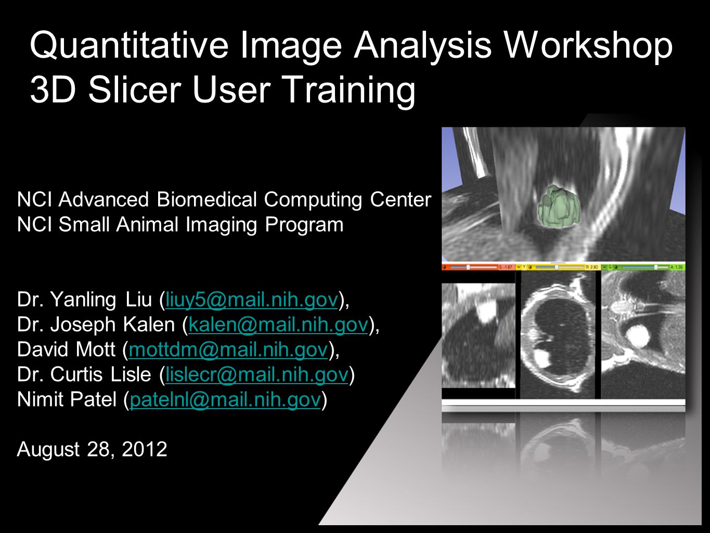 Quantitative Image Analysis Workshop 3D Slicer User Training NCI Advanced Biomedical Computing Center NCI Small Animal Imaging Program Dr.