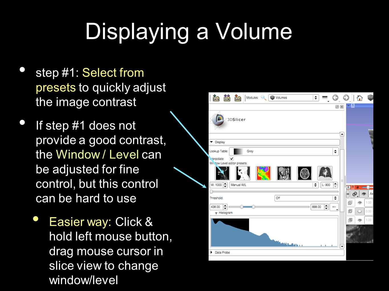 Displaying a Volume step #1: Select from presets to quickly adjust the image contrast If step #1 does not provide a good contrast, the Window / Level can be adjusted for fine control, but this control can be hard to use Easier way: Click & hold left mouse button, drag mouse cursor in slice view to change window/level