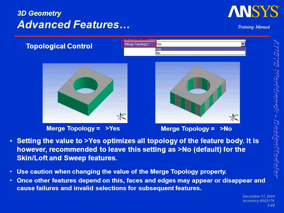 Training Manual December 17, 2004 Inventory #002176 5-22 3D Geometry Advanced Features… Topological Control Merge Topology = >Yes Merge Topology = >No