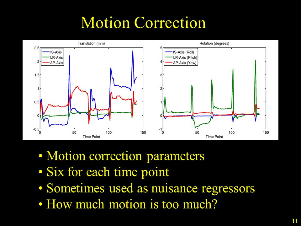 11 Motion Correction Motion correction parameters Six for each time point Sometimes used as nuisance regressors How much motion is too much?