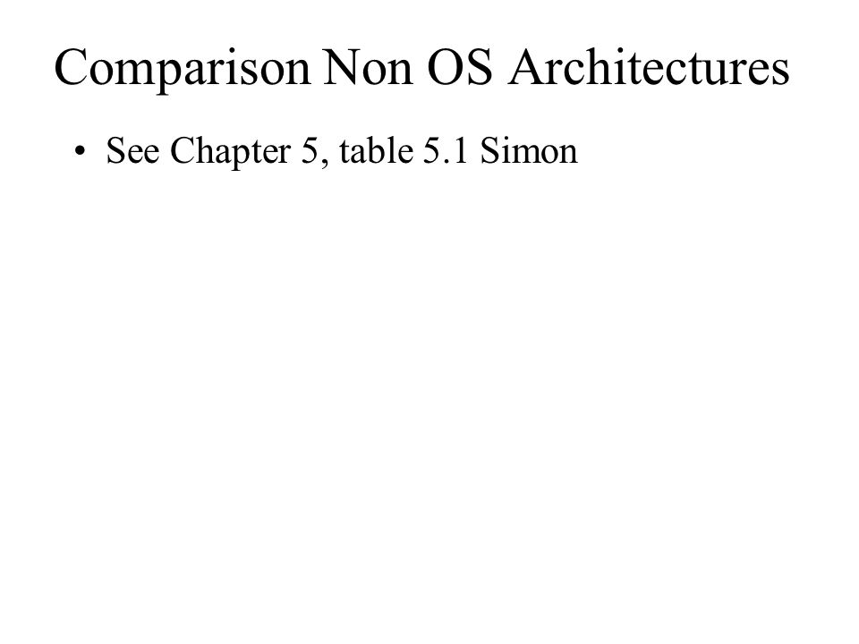 Comparison Non OS Architectures See Chapter 5, table 5.1 Simon