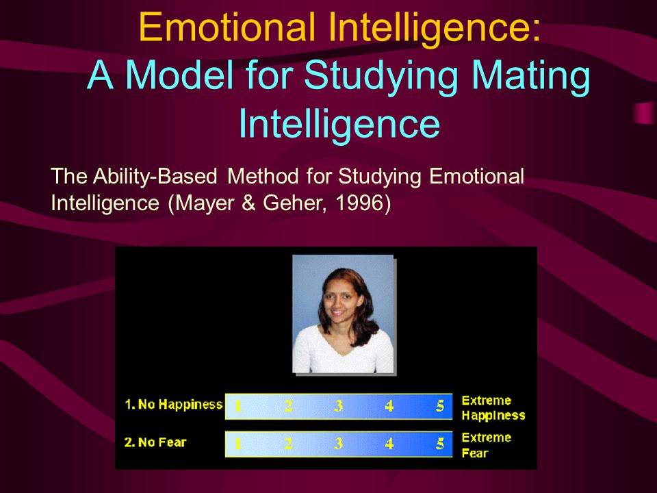 Emotional Intelligence: A Model for Studying Mating Intelligence The Ability-Based Method for Studying Emotional Intelligence (Mayer & Geher, 1996)