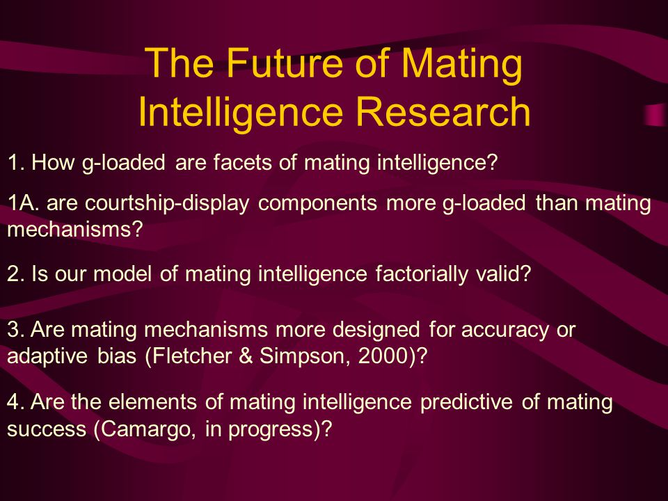 The Future of Mating Intelligence Research 1. How g-loaded are facets of mating intelligence.